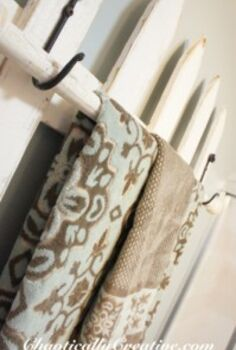 picket fence towel bar, bathroom ideas, repurposing upcycling, storage ideas