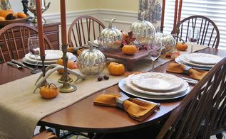 thanksgiving tablescape mercury glass pumpkins and vintage wood, home decor, seasonal holiday decor, thanksgiving decorations, An intimate Thanksgiving dinner for four plus two high chairs to be added on each end