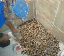 pebble floor in new shower, bathroom, diy renovations projects, flooring