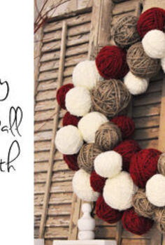 yarn ball wreath cheap version, christmas decorations, crafts, home decor, seasonal holiday decor, wreaths