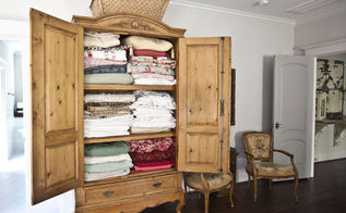 use an armoire as a linen closet, cleaning tips, closet, home decor, painted furniture, antique armoire filled with vintage linens and quilts