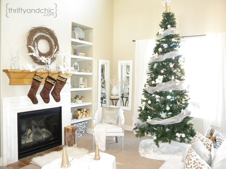 White Christmas Living Room Decorations Home Decor Ideas Seasonal