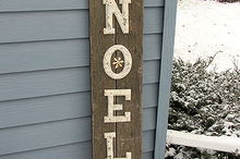 a rustic noel christmas sign, christmas decorations, crafts, repurposing upcycling, seasonal holiday decor, Ordinary wooden letters with a faux paint technique on junky wood boards