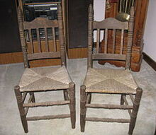 q old nasty ladder back chairs with cane seats, painted furniture, repurposing upcycling