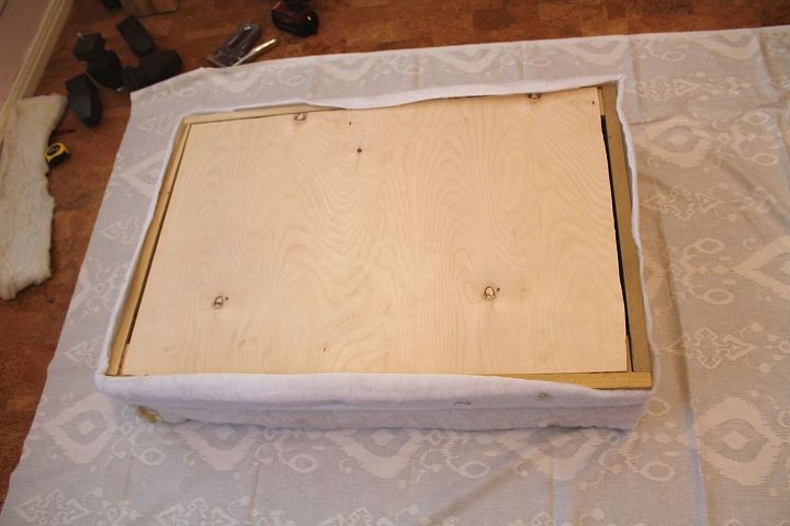 From Shabby To Chic Diy Upholstered Ottoman Makeover