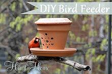 diy bird feeder from a flower pot, crafts, flowers, gardening, repurposing upcycling, My Cardinals love this cute DIY Terra Cotta Bird Feeder