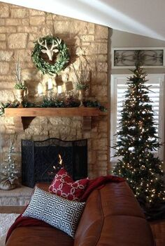 stone fireplace redesign, concrete masonry, home decor, living room ideas, I was bored with my brick fireplace I decided I wanted an old world stone look I distressed the mantle and took the stone all the way up Now I love my old world lodge look