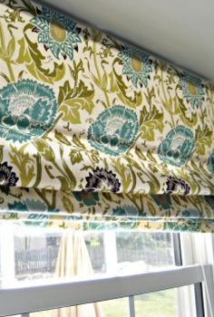 no sew roman shade from a mini blind, home decor, kitchen design, reupholster, window treatments, windows, The no sew roman blind folds up just like a roman shade You can t tell the difference