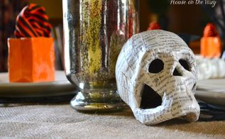 diy paper mache pumpkins and skulls, crafts, decoupage, halloween decorations, repurposing upcycling, seasonal holiday decor, DIY Paper Mache Skull gives a spooky look to my Halloween table