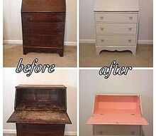 antique secretary desk before after, painted furniture