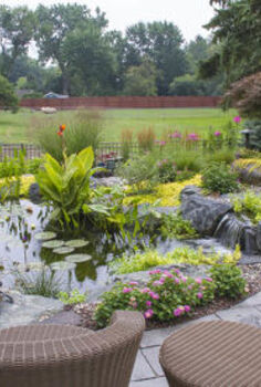 who doesn t want a backyard paradise, gardening, outdoor living, ponds water features, Comfy patio seating provides an up close view of the pond