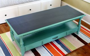 old coffee table becomes game table with scoreboard, painted furniture, repurposing upcycling, I selected a paint that matched the fabric on a nearby chair After two coats of paint I applied two coats of chalkboard paint to the top