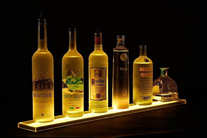 home bar lighting 2 led lighted liquor bottle display shelf lighting shelving ideas