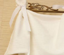 no sew tie on window valances, home decor, window treatments, Gather fabric and tie on with ribbon to swing rods