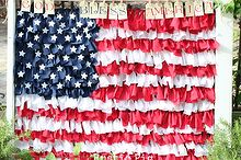 fourth of july rag flag window, crafts, patriotic decor ideas, seasonal holiday decor, Here is the finished Rag Flag