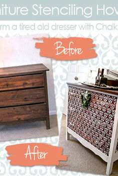how to stencil wood furniture with chalk paint decorative paint, painted furniture, Furniture Stencil How to Transform an old dresser with Chalk Paint