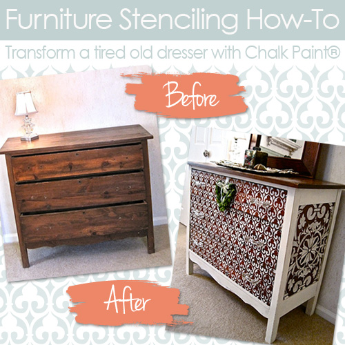 How To Stencil Wood Furniture With Chalk Paint Decorative Paint Hometalk