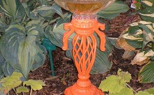 diy lamp into autumn birdbath, crafts, gardening, repurposing upcycling, DIY Lamp into Autumn Birdbath