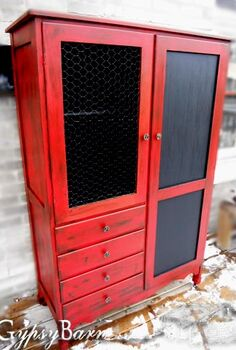 my fun with painting furniture take 1, chalkboard paint, home decor, painted furniture, The whatchamacallit wardrobe turned crafting cupboard with Chalk board fronts and new chicken wire replacing an ugly old mirror