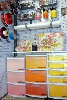 colorful ombre basement craft storage, craft rooms, home decor, organizing, storage ideas, My colorful ombre craft storage solutions including paint chip inspired carts Get the details here