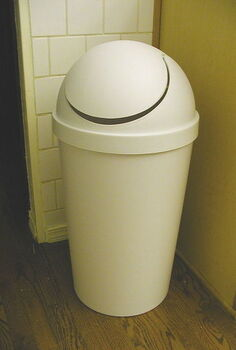 make a plastic garbage can look high end, home decor, kitchen design, painting, repurposing upcycling, A tall plastic garbage can is just an eyesore