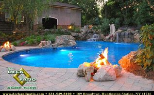 pools pools pools, decks, lighting, outdoor living, patio, pool designs, spas, Pool with fire pit