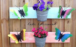 boards buckets and butterflies spring wall flower hangers, flowers, gardening, Any color combination will work