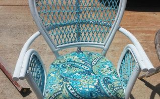 up cycled wicker chairs, painted furniture, finished product have three more to finish