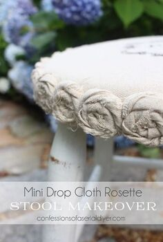 mini drop cloth rosette stool makeover 5 yard sale find, painted furniture, reupholster