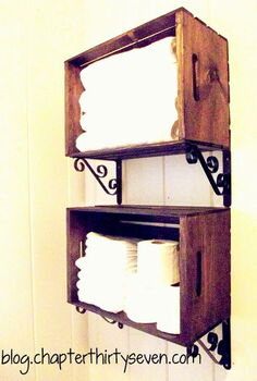 bathroom shelving made from crates and brackets, bathroom ideas, home decor, repurposing upcycling, shelving ideas, small bathroom ideas