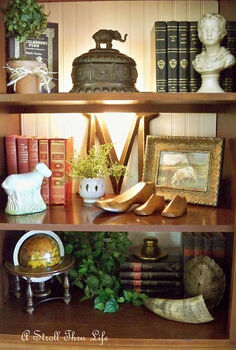 styling bookcases, decks, storage ideas, I love mixing plants and pictures in with books