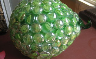 garden globes, crafts, gardening, repurposing upcycling, Green glass pear that I covered in green glass