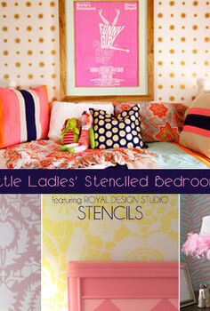 stencil and pattern ideas for girl s bedrooms, bedroom ideas, painting, Little Ladies Stenciled Bedrooms