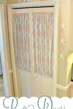 adding personality to pantry doors, closet, doors, home decor, window treatments, We used to live in what is now our rental house A couple of years ago when I decided to update the kitchen on a budget I gave the pantry doors a little update with paint and fabric