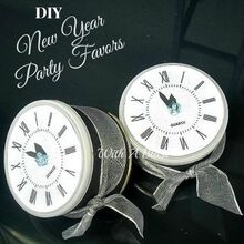 new year s eve party favors, repurposing upcycling, seasonal holiday decor, Empty cans wrapped in black tissue paper a simple silver ribbon and photocopied clock faces use as a Party favor decoration or noise maker