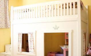 a princess bedroom with a loft bed, bedroom ideas, closet, diy, doors, home decor, DIY loft bed built off of Ana White plans