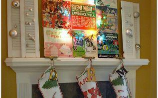 vintage christmas mantel, christmas decorations, repurposing upcycling, seasonal holiday decor