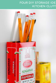 four diy storage ideas, cleaning tips, Kitchen Clutter Sometimes the simplest ideas are the most brilliant like this tin organization idea from A Pretty Cool Life All you need for this project are magnets some glue and several attractive tins spice tins are perfect
