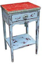 overhauled yardstick amp chrome telephone table, chalk paint, painted furniture, repurposing upcycling, Upcycled Yardstick Telephone Table by GadgetSponge com