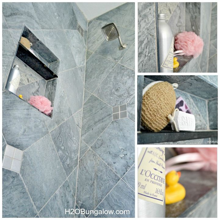 Creative Small Bathroom Remodel With Slate And Glass Tile Hometalk