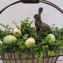 rustic neutral faux chocolate bunny easter centrepiece, easter decorations, repurposing upcycling, seasonal holiday d cor