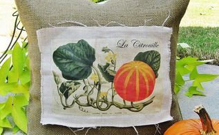 linen and burlap vintage french pumpkin pillow starring a wonderful vintage graphic, home decor, seasonal holiday decor, Vintage French pumpkin pillow