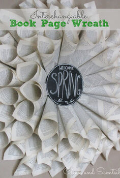 interchangeable spring book page wreath, crafts, Book page wreaths are easy to create and just requires some book pages a foam or cardboard piece for the backing and hot glue