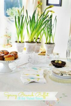 setting the table for an easter brunch buffet, easter decorations, seasonal holiday d cor, A simple and elegant Easter Brunch Buffet
