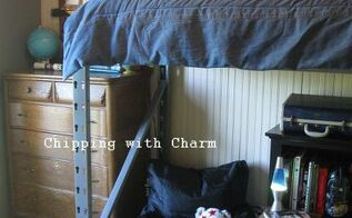 re purposed pallet racking to lofted bed little man cave, bedroom ideas, painted furniture, pallet, repurposing upcycling, Pallet racking to lofted bed