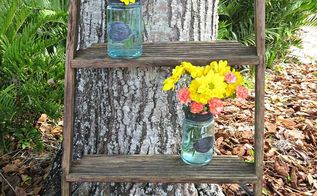 little ladder with blue jars for flowers, flowers, gardening, home decor, repurposing upcycling, Finished Ladder