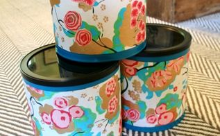 upcycling coffee cans into organization containers, organizing, repurposing upcycling, Tape the scrap paper around the coffee cans This hides the ripples a little bit and gives it a higher end container look Now store all your items inside for pretty storage