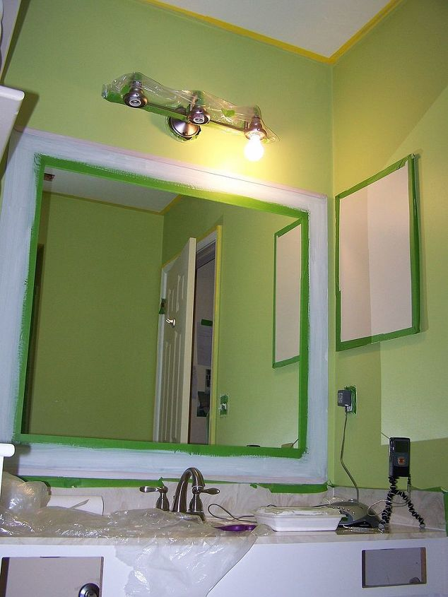 Old Bathroom Mirror Makeover Decorative Paint Frame Without Removal Painting I