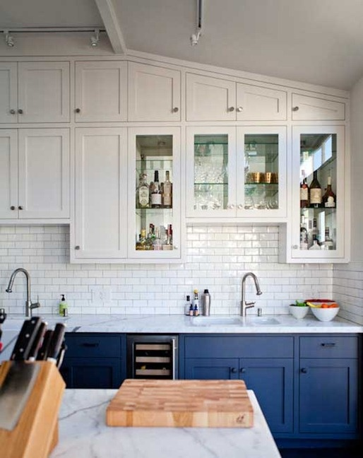 Can You Have A White Pantry With Blue Kitchen Cabinets