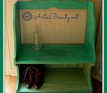 vintage mudroom bench using some paint and a freezer paper transfer, painted furniture